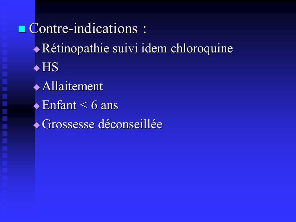 Contre-indications : Contre-indications : Rétinopathie suivi idem chloroquine Rétinopathie suivi idem chloroquine HS HS Allaitement Allaitement Enfant