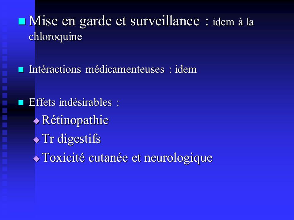 Mise en garde et surveillance : idem à la chloroquine Mise en garde et surveillance : idem à la chloroquine Intéractions médicamenteuses : idem Intéra