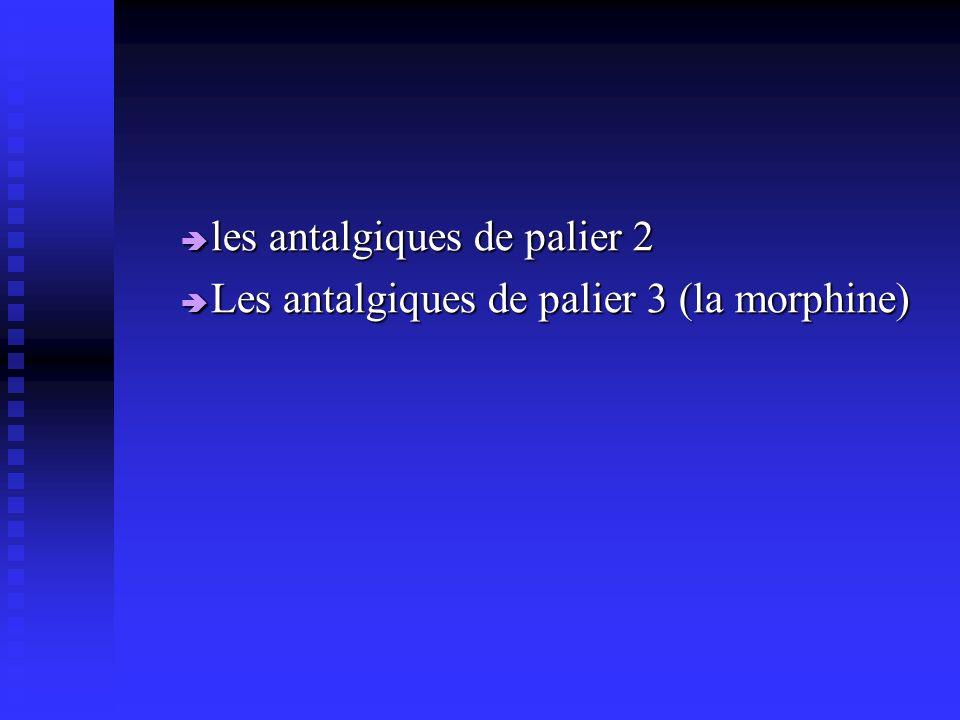 les antalgiques de palier 2 les antalgiques de palier 2 Les antalgiques de palier 3 (la morphine) Les antalgiques de palier 3 (la morphine)