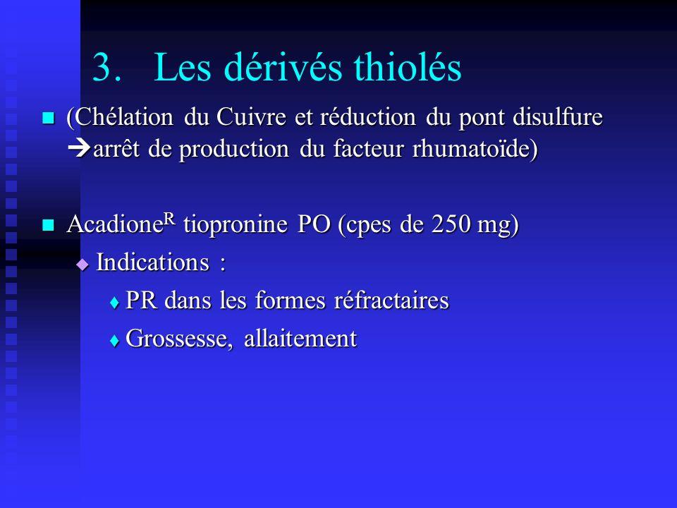 3.Les dérivés thiolés (Chélation du Cuivre et réduction du pont disulfure arrêt de production du facteur rhumatoïde) (Chélation du Cuivre et réduction du pont disulfure arrêt de production du facteur rhumatoïde) Acadione R tiopronine PO (cpes de 250 mg) Acadione R tiopronine PO (cpes de 250 mg) Indications : Indications : PR dans les formes réfractaires PR dans les formes réfractaires Grossesse, allaitement Grossesse, allaitement