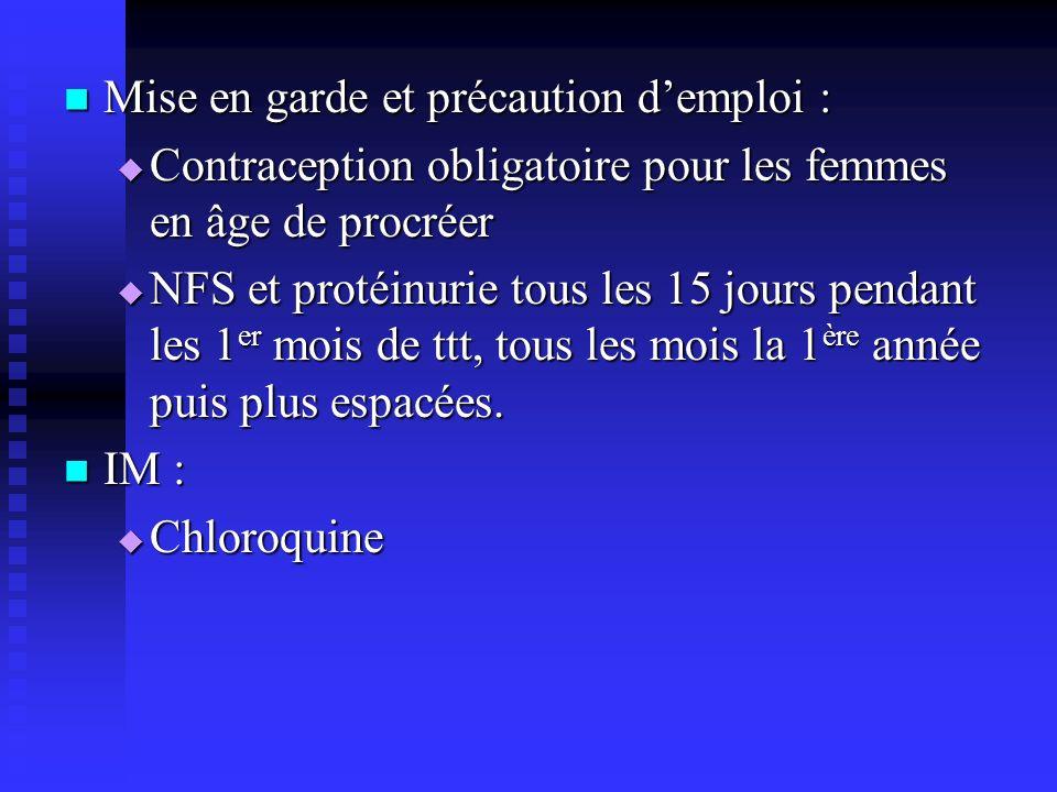 Mise en garde et précaution demploi : Mise en garde et précaution demploi : Contraception obligatoire pour les femmes en âge de procréer Contraception