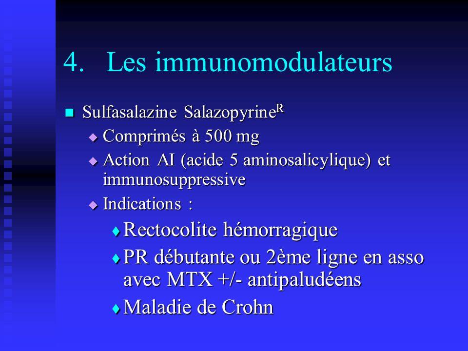 4.Les immunomodulateurs Sulfasalazine Salazopyrine R Sulfasalazine Salazopyrine R Comprimés à 500 mg Comprimés à 500 mg Action AI (acide 5 aminosalicylique) et immunosuppressive Action AI (acide 5 aminosalicylique) et immunosuppressive Indications : Indications : Rectocolite hémorragique Rectocolite hémorragique PR débutante ou 2ème ligne en asso avec MTX +/- antipaludéens PR débutante ou 2ème ligne en asso avec MTX +/- antipaludéens Maladie de Crohn Maladie de Crohn