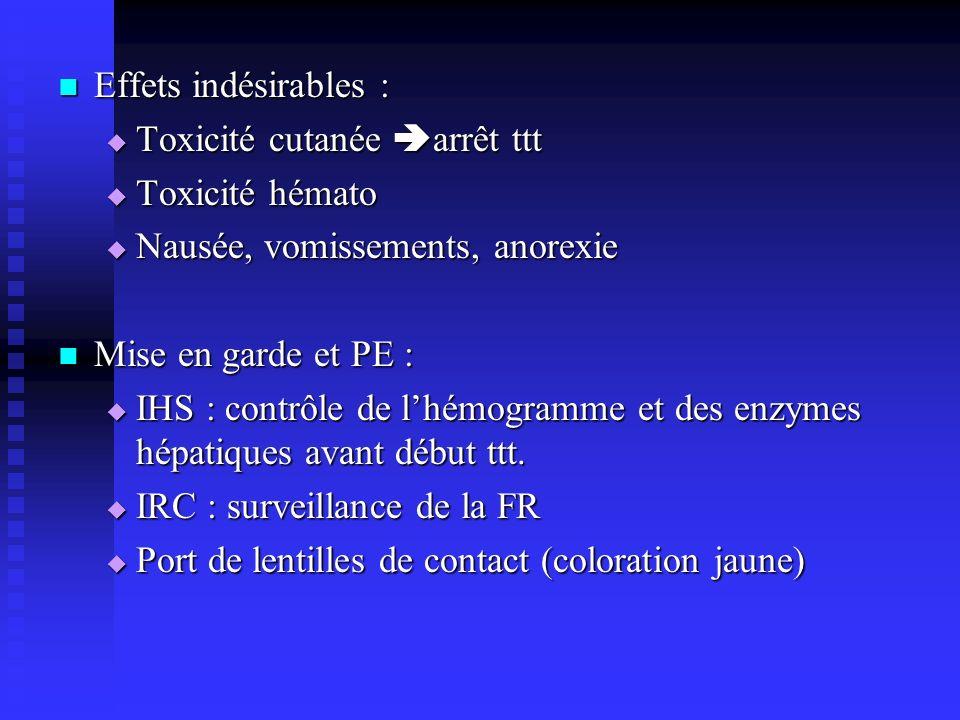Effets indésirables : Effets indésirables : Toxicité cutanée arrêt ttt Toxicité cutanée arrêt ttt Toxicité hémato Toxicité hémato Nausée, vomissements, anorexie Nausée, vomissements, anorexie Mise en garde et PE : Mise en garde et PE : IHS : contrôle de lhémogramme et des enzymes hépatiques avant début ttt.