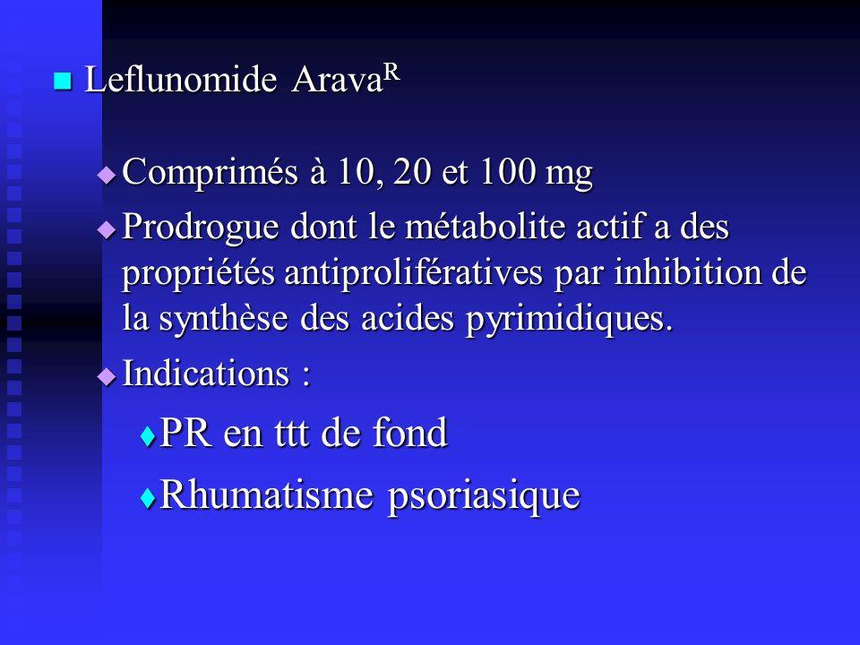 Leflunomide Arava R Leflunomide Arava R Comprimés à 10, 20 et 100 mg Comprimés à 10, 20 et 100 mg Prodrogue dont le métabolite actif a des propriétés antiprolifératives par inhibition de la synthèse des acides pyrimidiques.