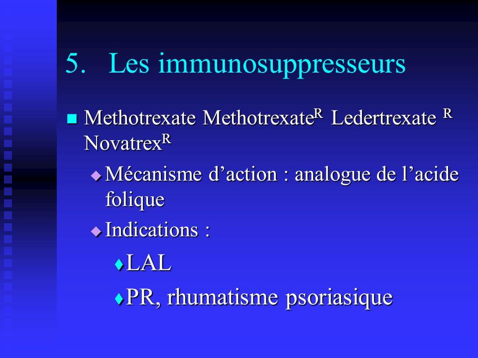 5.Les immunosuppresseurs Methotrexate Methotrexate R Ledertrexate R Novatrex R Methotrexate Methotrexate R Ledertrexate R Novatrex R Mécanisme daction : analogue de lacide folique Mécanisme daction : analogue de lacide folique Indications : Indications : LAL LAL PR, rhumatisme psoriasique PR, rhumatisme psoriasique