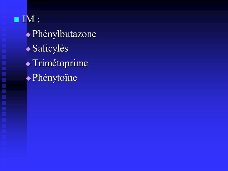 IM : IM : Phénylbutazone Phénylbutazone Salicylés Salicylés Trimétoprime Trimétoprime Phénytoïne Phénytoïne