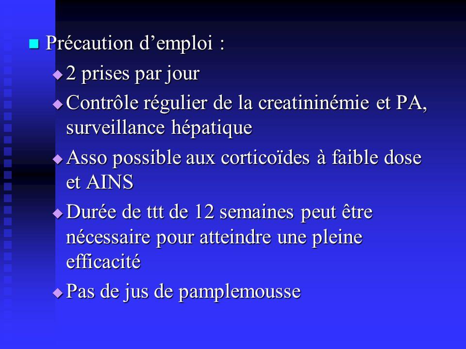 Précaution demploi : Précaution demploi : 2 prises par jour 2 prises par jour Contrôle régulier de la creatininémie et PA, surveillance hépatique Cont
