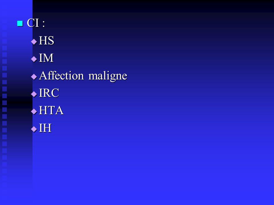 CI : CI : HS HS IM IM Affection maligne Affection maligne IRC IRC HTA HTA IH IH