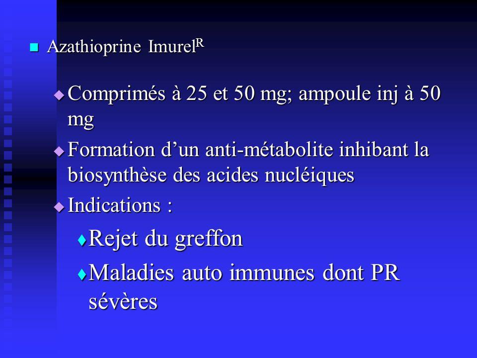 Azathioprine Imurel R Azathioprine Imurel R Comprimés à 25 et 50 mg; ampoule inj à 50 mg Comprimés à 25 et 50 mg; ampoule inj à 50 mg Formation dun anti-métabolite inhibant la biosynthèse des acides nucléiques Formation dun anti-métabolite inhibant la biosynthèse des acides nucléiques Indications : Indications : Rejet du greffon Rejet du greffon Maladies auto immunes dont PR sévères Maladies auto immunes dont PR sévères