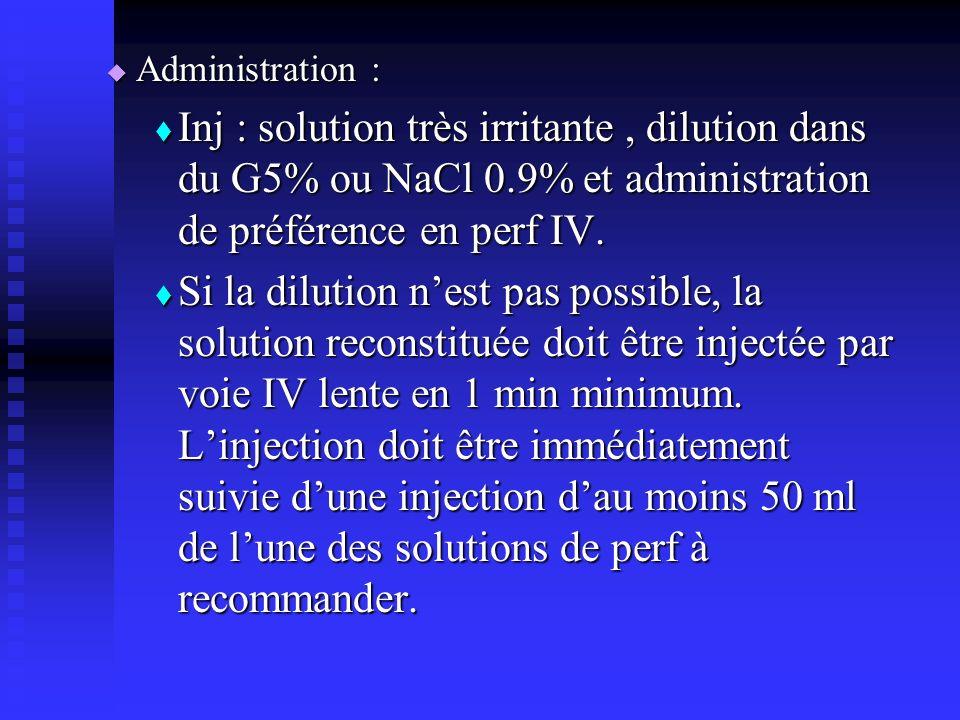 Administration : Administration : Inj : solution très irritante, dilution dans du G5% ou NaCl 0.9% et administration de préférence en perf IV.