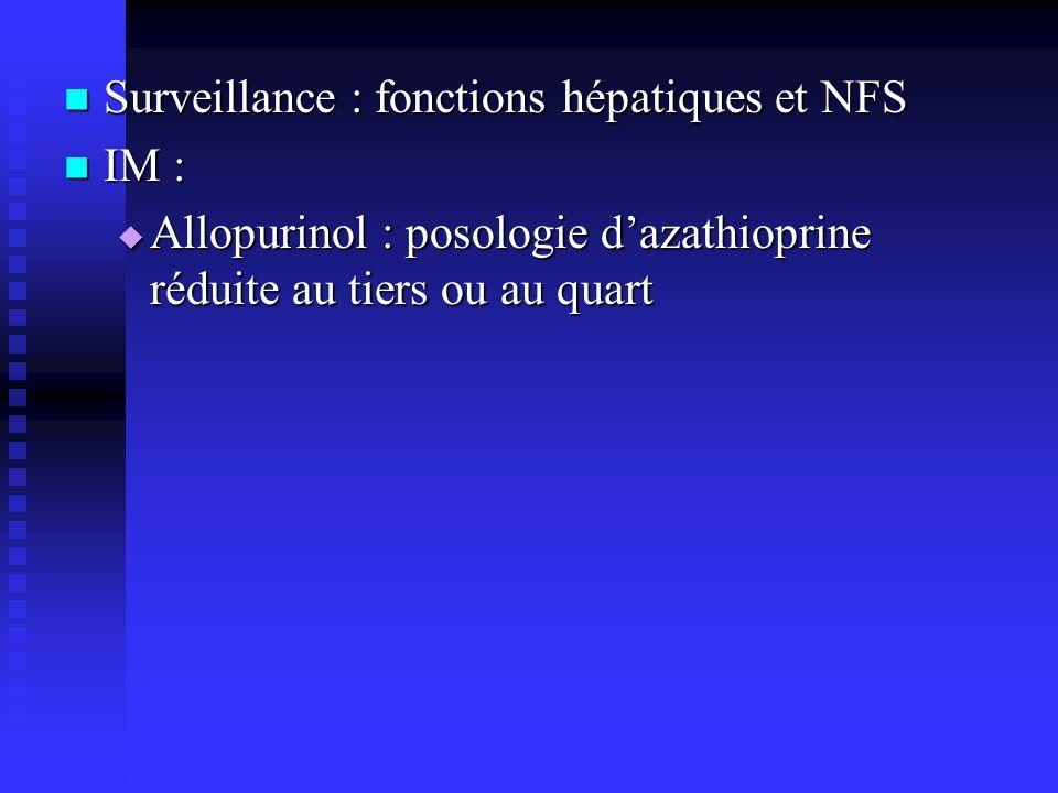 Surveillance : fonctions hépatiques et NFS Surveillance : fonctions hépatiques et NFS IM : IM : Allopurinol : posologie dazathioprine réduite au tiers ou au quart Allopurinol : posologie dazathioprine réduite au tiers ou au quart