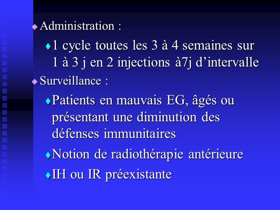 Administration : Administration : 1 cycle toutes les 3 à 4 semaines sur 1 à 3 j en 2 injections à7j dintervalle 1 cycle toutes les 3 à 4 semaines sur