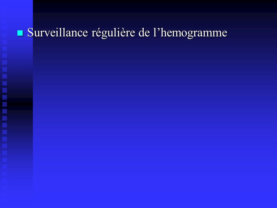 Surveillance régulière de lhemogramme Surveillance régulière de lhemogramme