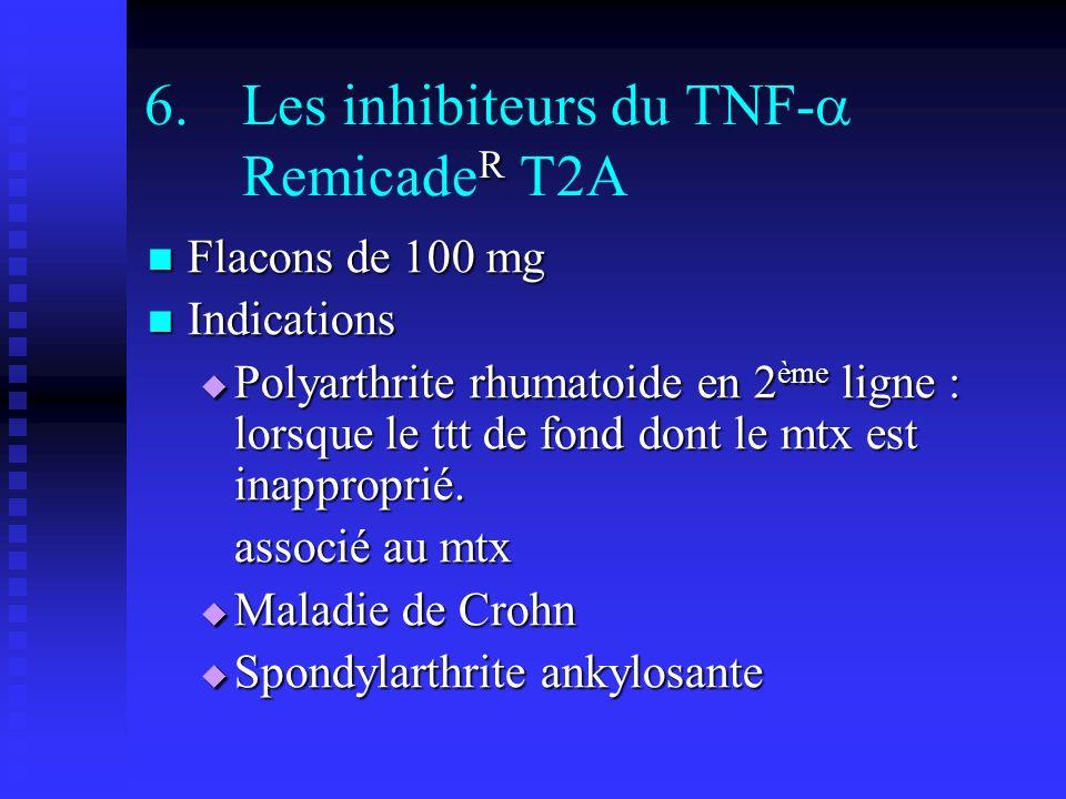R 6.Les inhibiteurs du TNF- Remicade R T2A Flacons de 100 mg Flacons de 100 mg Indications Indications Polyarthrite rhumatoide en 2 ème ligne : lorsque le ttt de fond dont le mtx est inapproprié.