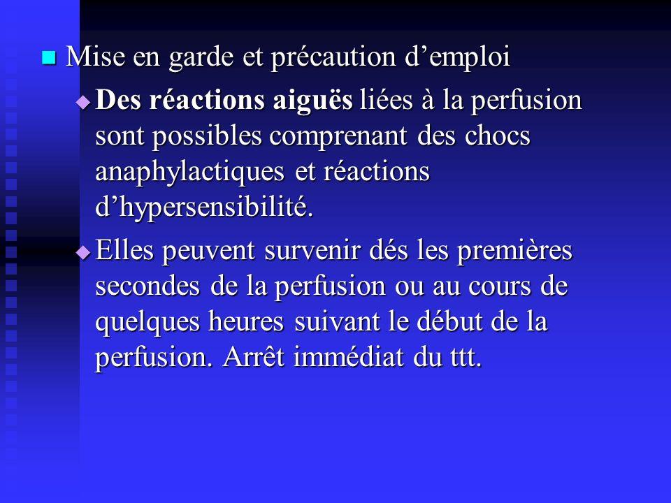 Mise en garde et précaution demploi Mise en garde et précaution demploi Des réactions aiguës liées à la perfusion sont possibles comprenant des chocs anaphylactiques et réactions dhypersensibilité.