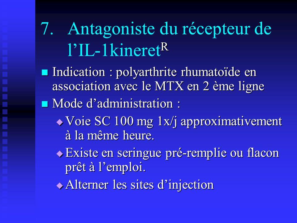 R 7.Antagoniste du récepteur de lIL-1kineret R Indication : polyarthrite rhumatoïde en association avec le MTX en 2 ème ligne Indication : polyarthrit