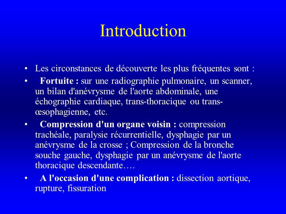 Introduction Les circonstances de découverte les plus fréquentes sont : Fortuite : sur une radiographie pulmonaire, un scanner, un bilan d anévrysme de l aorte abdominale, une échographie cardiaque, trans-thoracique ou trans- œsophagienne, etc.