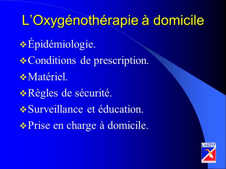 LOxygénothérapie à domicile Épidémiologie. Conditions de prescription. Matériel. Règles de sécurité. Surveillance et éducation. Prise en charge à domi