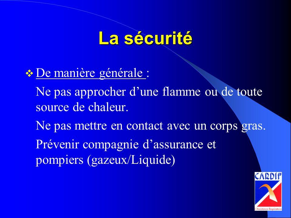 La sécurité De manière générale : Ne pas approcher dune flamme ou de toute source de chaleur. Ne pas mettre en contact avec un corps gras. Prévenir co