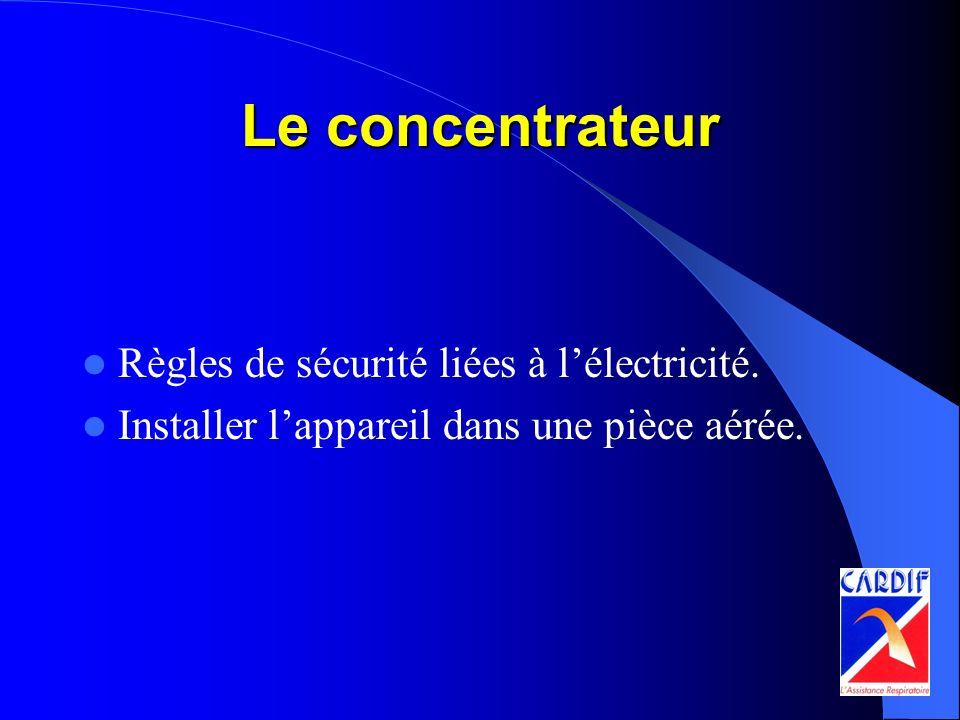 Le concentrateur Règles de sécurité liées à lélectricité. Installer lappareil dans une pièce aérée.