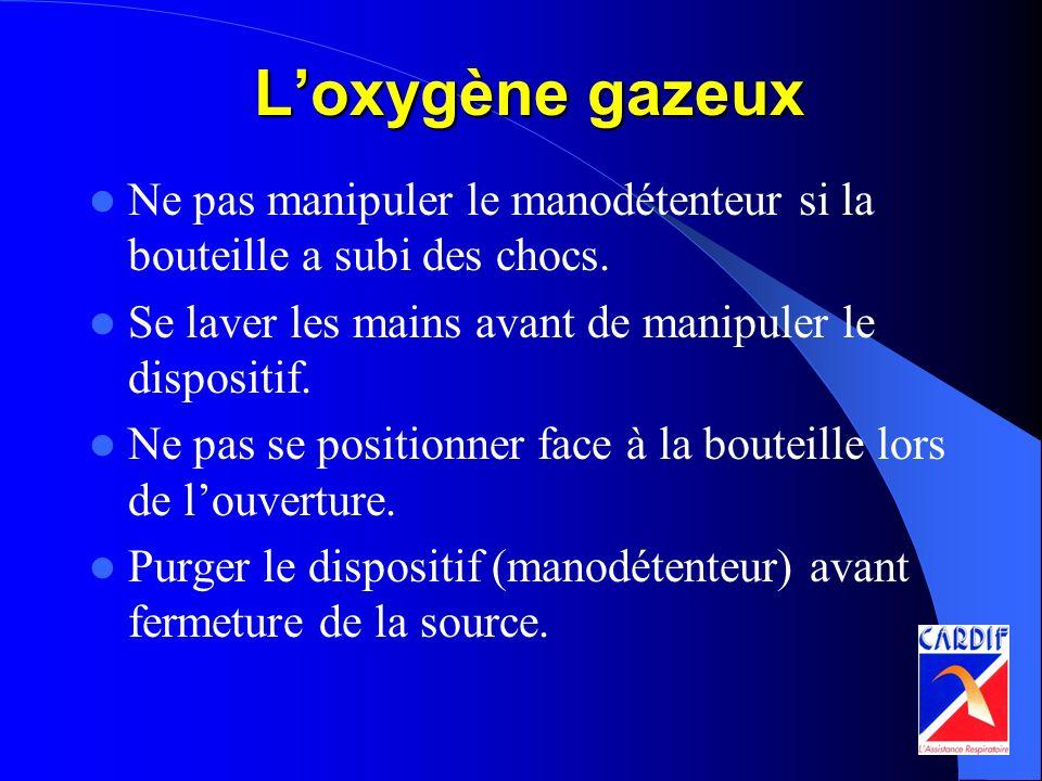 Loxygène gazeux Ne pas manipuler le manodétenteur si la bouteille a subi des chocs. Se laver les mains avant de manipuler le dispositif. Ne pas se pos
