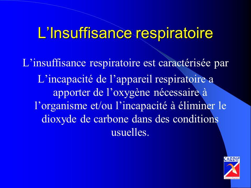 LInsuffisance respiratoire Linsuffisance respiratoire est caractérisée par Lincapacité de lappareil respiratoire a apporter de loxygène nécessaire à l