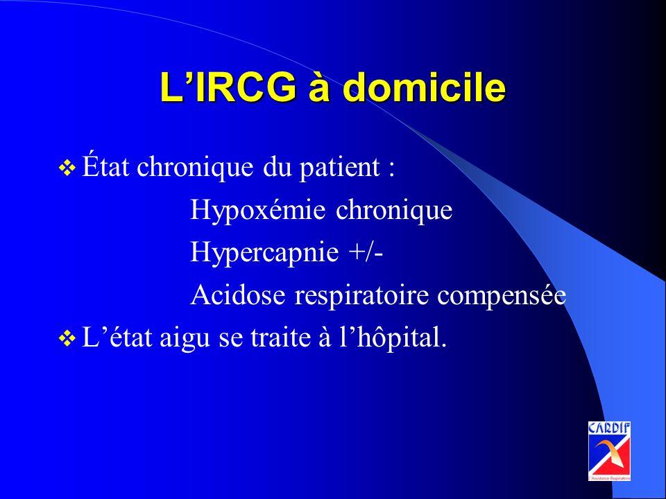 LIRCG à domicile État chronique du patient : Hypoxémie chronique Hypercapnie +/- Acidose respiratoire compensée Létat aigu se traite à lhôpital.