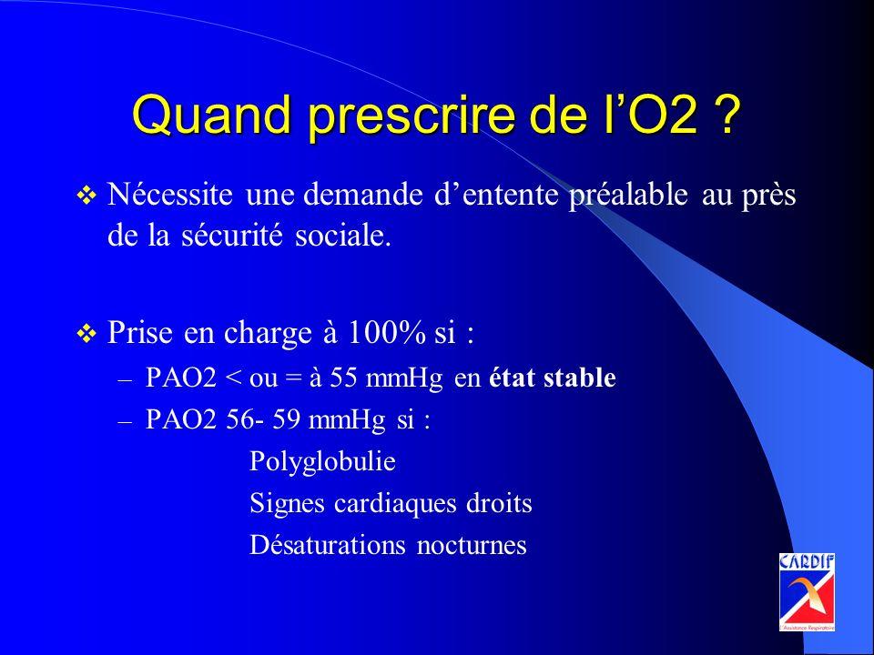 Quand prescrire de lO2 ? Nécessite une demande dentente préalable au près de la sécurité sociale. Prise en charge à 100% si : – PAO2 < ou = à 55 mmHg