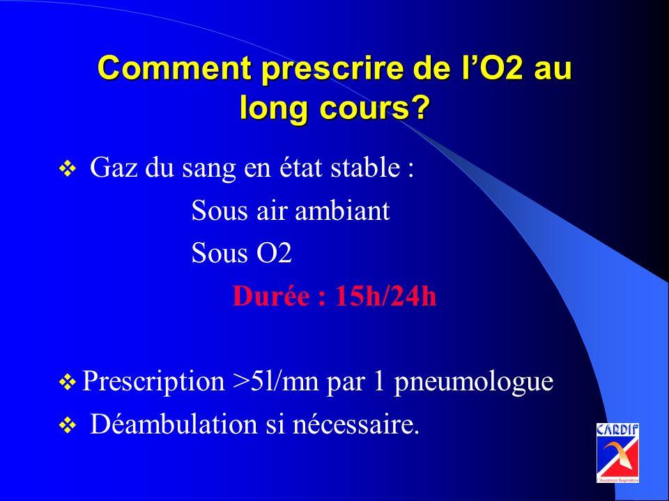 Comment prescrire de lO2 au long cours? Gaz du sang en état stable : Sous air ambiant Sous O2 Durée : 15h/24h Prescription >5l/mn par 1 pneumologue Dé
