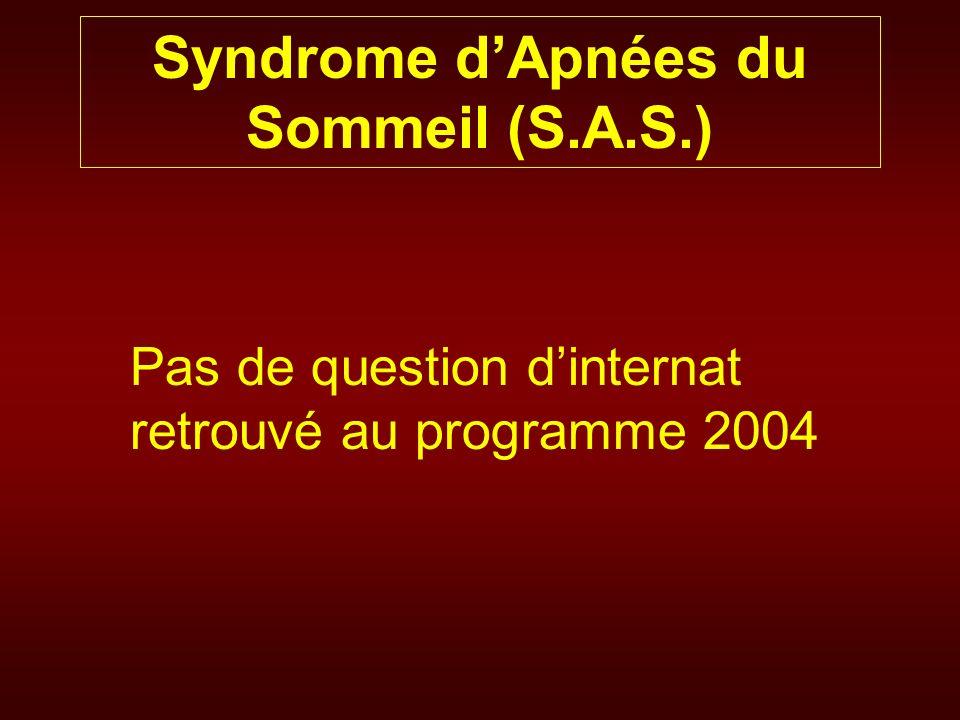Syndrome dApnées du Sommeil (S.A.S.) Obstruction des voies aériennes supérieures >>> Apnées nocturnes