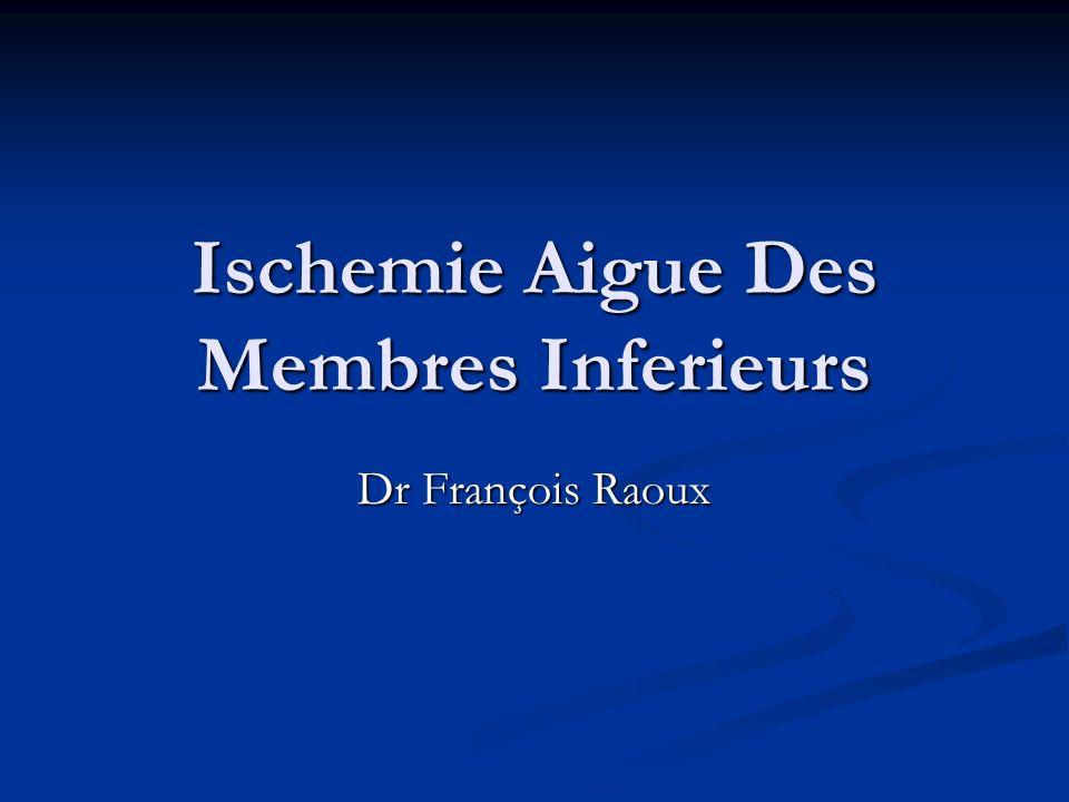 Ischemie Aigue Des Membres Inferieurs Dr François Raoux