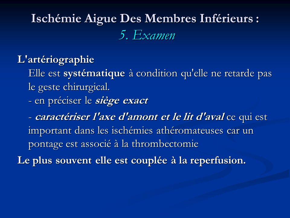 Ischémie Aigue Des Membres Inférieurs : 5. Examen L'artériographie Elle est systématique à condition qu'elle ne retarde pas le geste chirurgical. - en