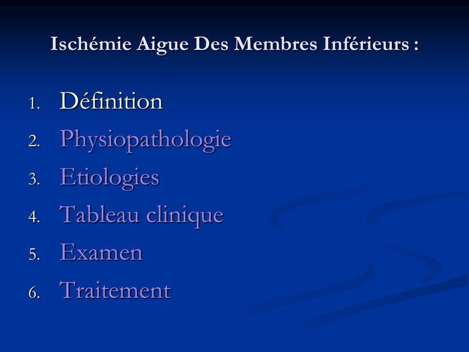 Ischémie Aigue Des Membres Inférieurs : 4.Tableau clinique L interrogatoire fait préciser l heure de début, et donc la durée d ischémie, l heure de début, et donc la durée d ischémie, la hauteur du territoire douloureux et impotent (pied-cheville, jambe, totalité du membre,...), la hauteur du territoire douloureux et impotent (pied-cheville, jambe, totalité du membre,...), l âge du patient, l âge du patient, la recherche des antécédents de cardiopathie potentiellement emboligène avec son évolution récente, son traitement.