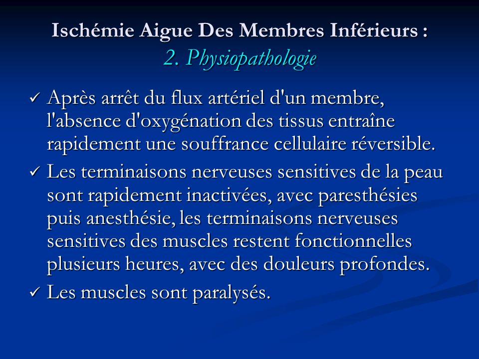 Ischémie Aigue Des Membres Inférieurs : 2. Physiopathologie Après arrêt du flux artériel d'un membre, l'absence d'oxygénation des tissus entraîne rapi