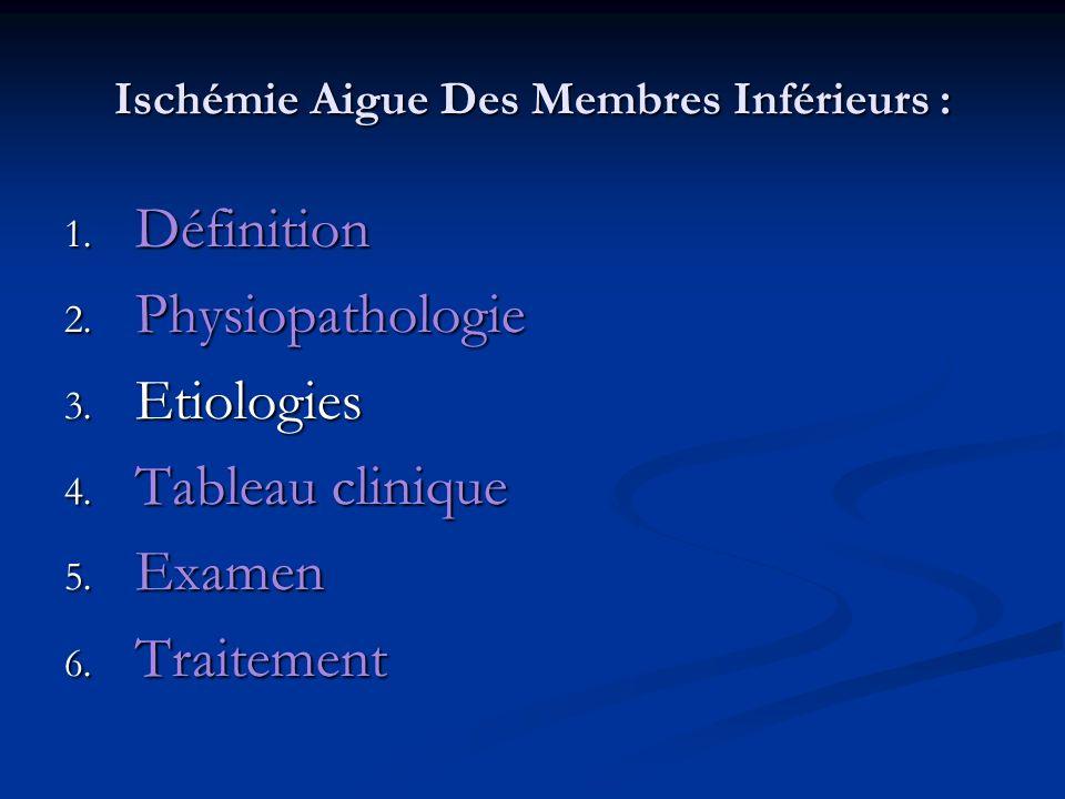 Ischémie Aigue Des Membres Inférieurs : Ischémie Aigue Des Membres Inférieurs : 6.