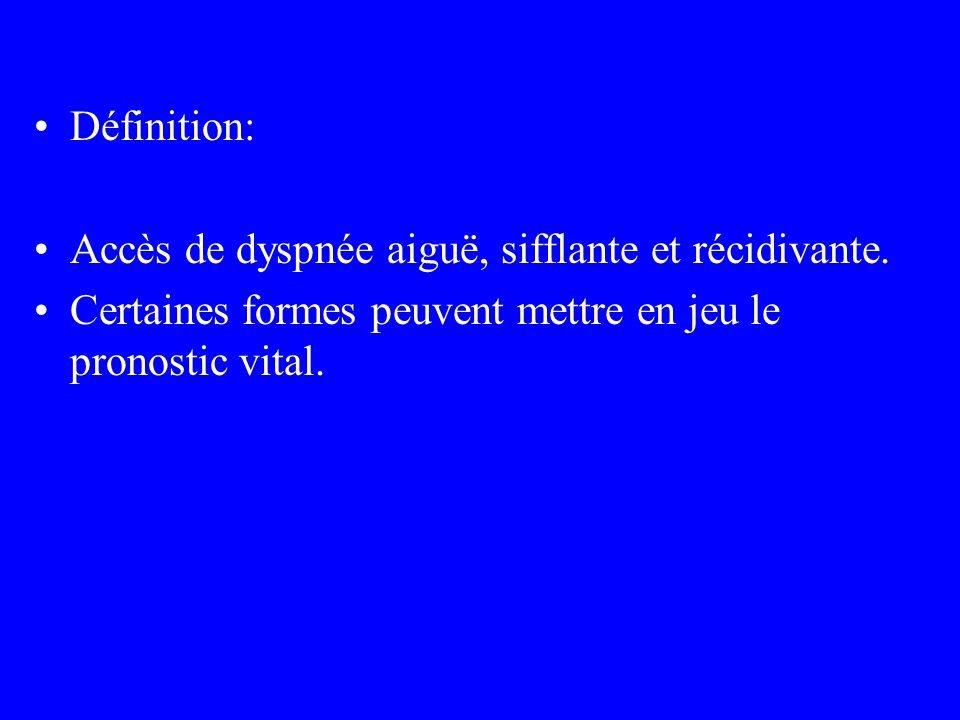 Définition: Accès de dyspnée aiguë, sifflante et récidivante. Certaines formes peuvent mettre en jeu le pronostic vital.