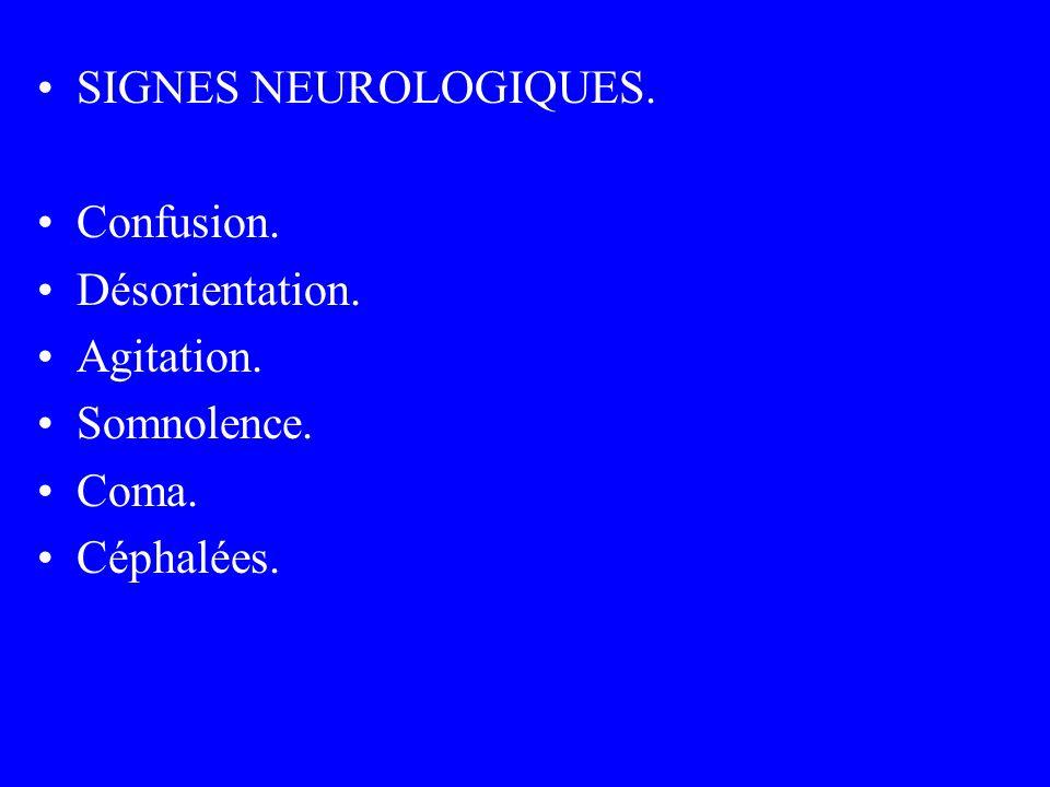 SIGNES NEUROLOGIQUES. Confusion. Désorientation. Agitation. Somnolence. Coma. Céphalées.