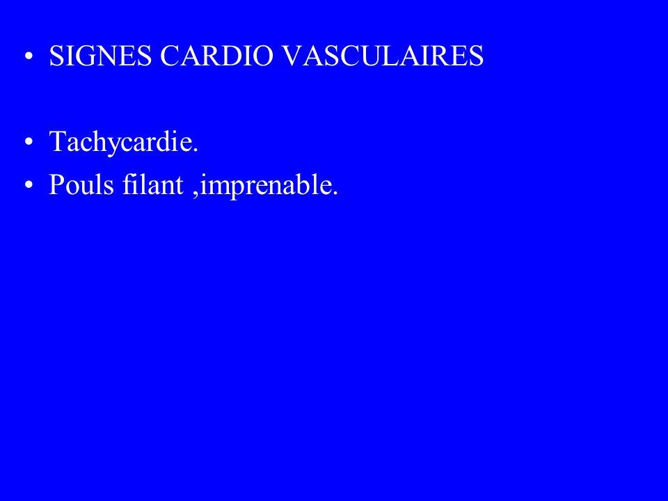 SIGNES CARDIO VASCULAIRES Tachycardie. Pouls filant,imprenable.