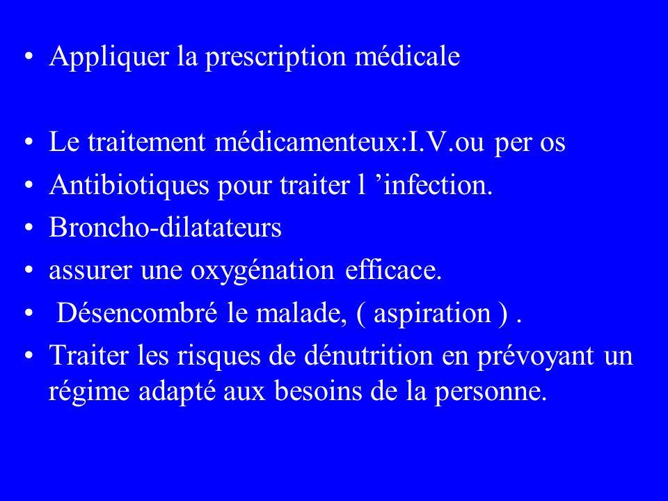 Appliquer la prescription médicale Le traitement médicamenteux:I.V.ou per os Antibiotiques pour traiter l infection. Broncho-dilatateurs assurer une o