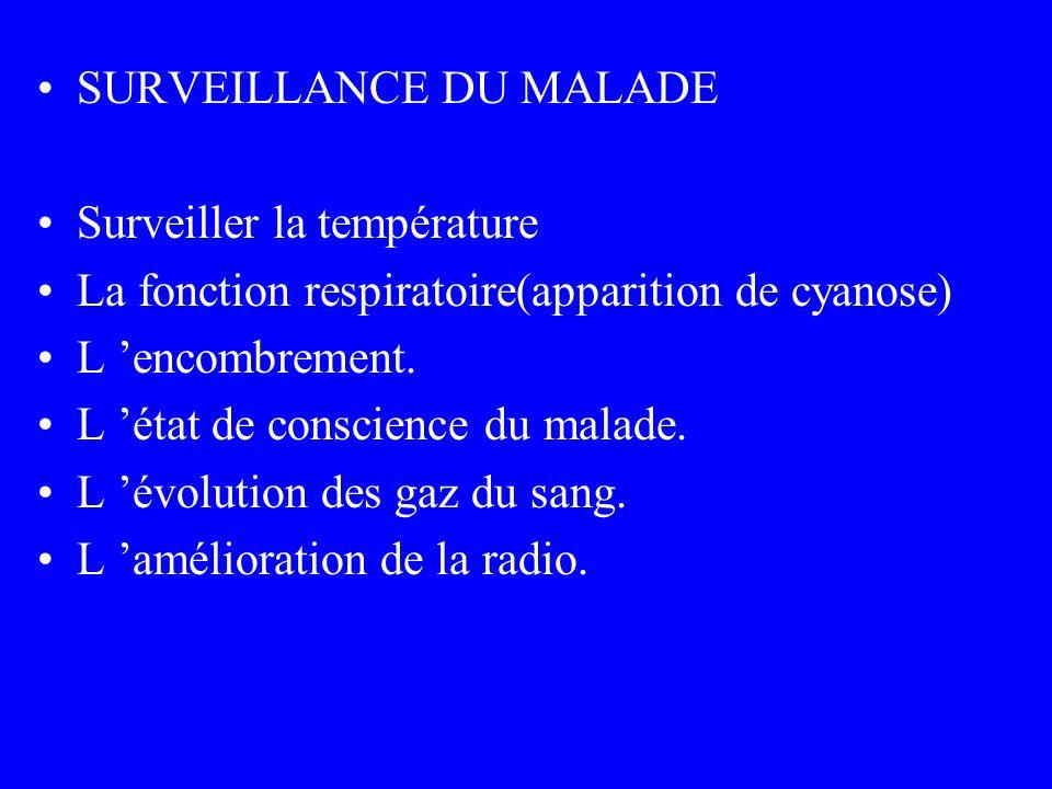 SURVEILLANCE DU MALADE Surveiller la température La fonction respiratoire(apparition de cyanose) L encombrement. L état de conscience du malade. L évo