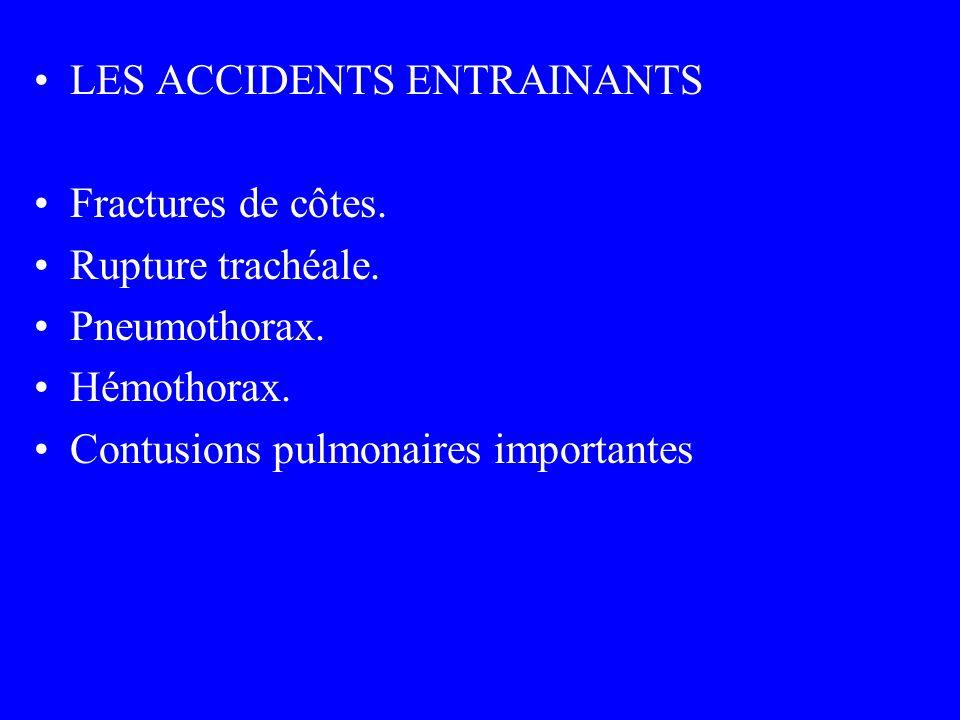 LES ACCIDENTS ENTRAINANTS Fractures de côtes. Rupture trachéale. Pneumothorax. Hémothorax. Contusions pulmonaires importantes