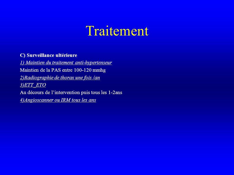 Traitement C) Surveillance ultérieure 1) Maintien du traitement anti-hypertenseur Maintien de la PAS entre 100-120 mmhg 2)Radiographie de thorax une f