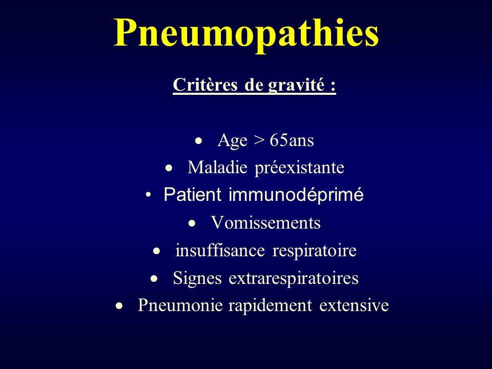 Pneumopathies Critères de gravité : Age > 65ans Maladie préexistante Patient immunodéprimé Vomissements insuffisance respiratoire Signes extrarespirat