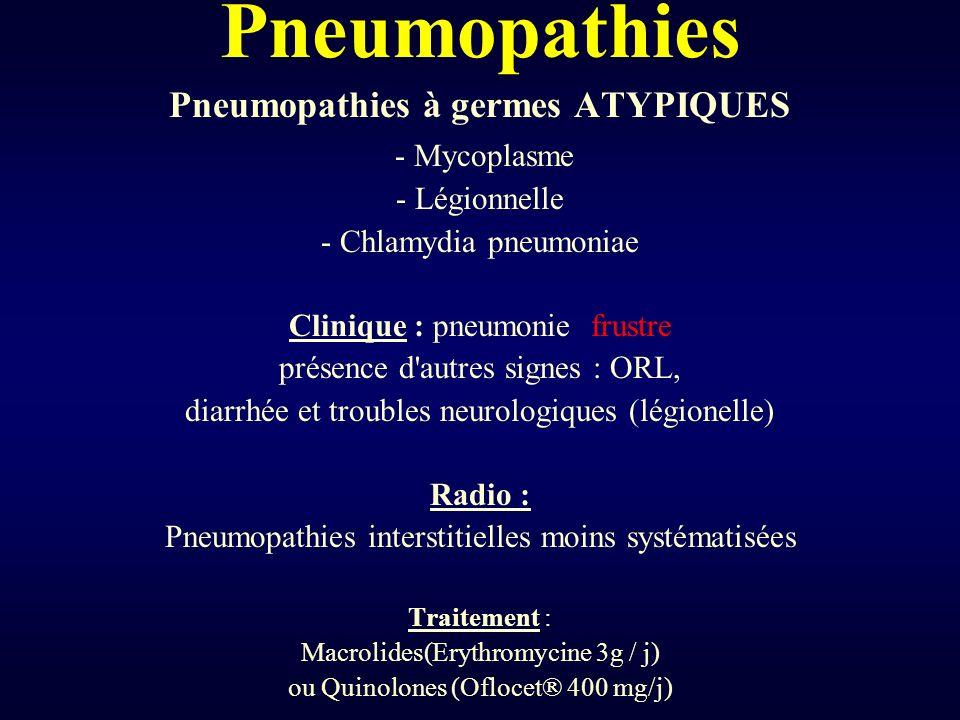 Pneumopathies Pneumopathies à germes ATYPIQUES - Mycoplasme - Légionnelle - Chlamydia pneumoniae Clinique : pneumonie frustre présence d'autres signes