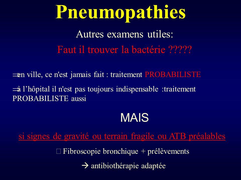 Pneumopathies Autres examens utiles: Faut il trouver la bactérie ????? en ville, ce n'est jamais fait : traitement PROBABILISTE à lhôpital il n'est pa