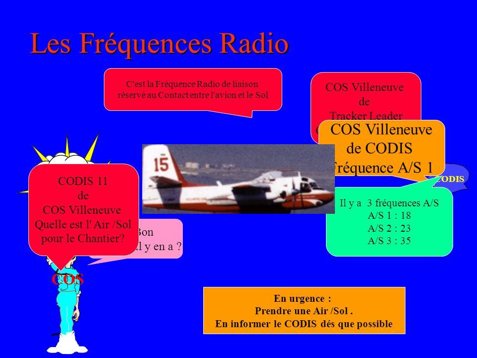 CODIS Les Fréquences Radio COS Villeneuve de Tracker Leader On passe sur Air /Sol Air / Sol C est Quoi ca.