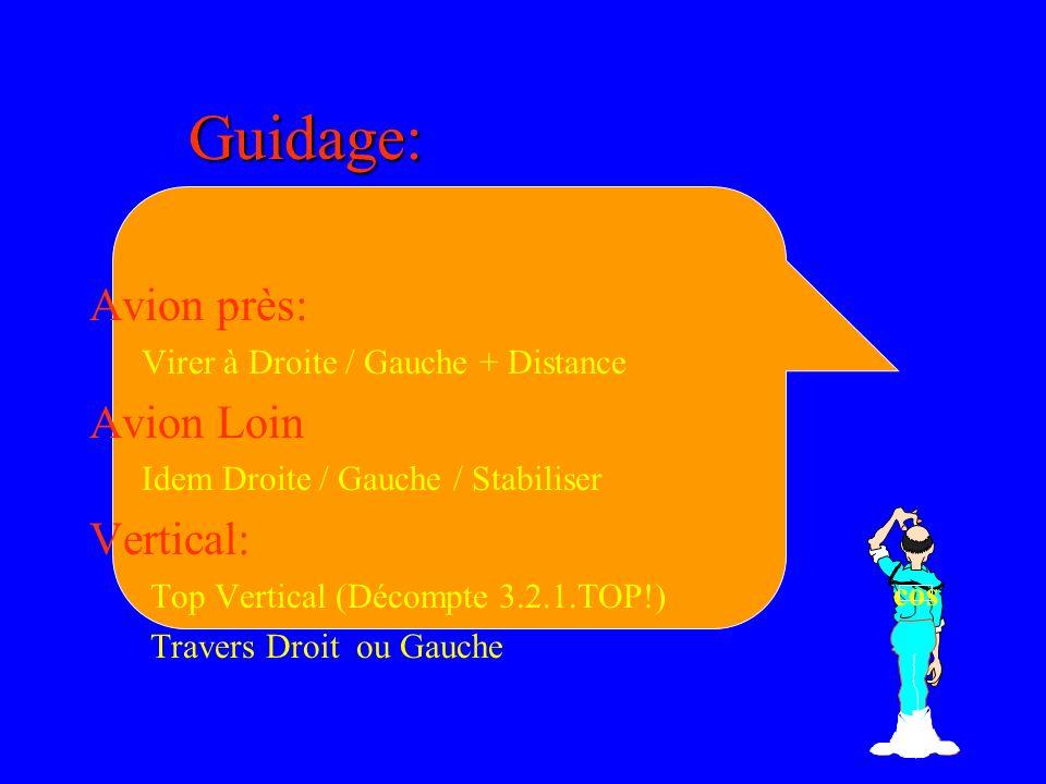 Guidage: Avion près: Virer à Droite / Gauche + Distance Avion Loin Idem Droite / Gauche / Stabiliser Vertical: Top Vertical (Décompte 3.2.1.TOP!) Travers Droit ou Gauche cos