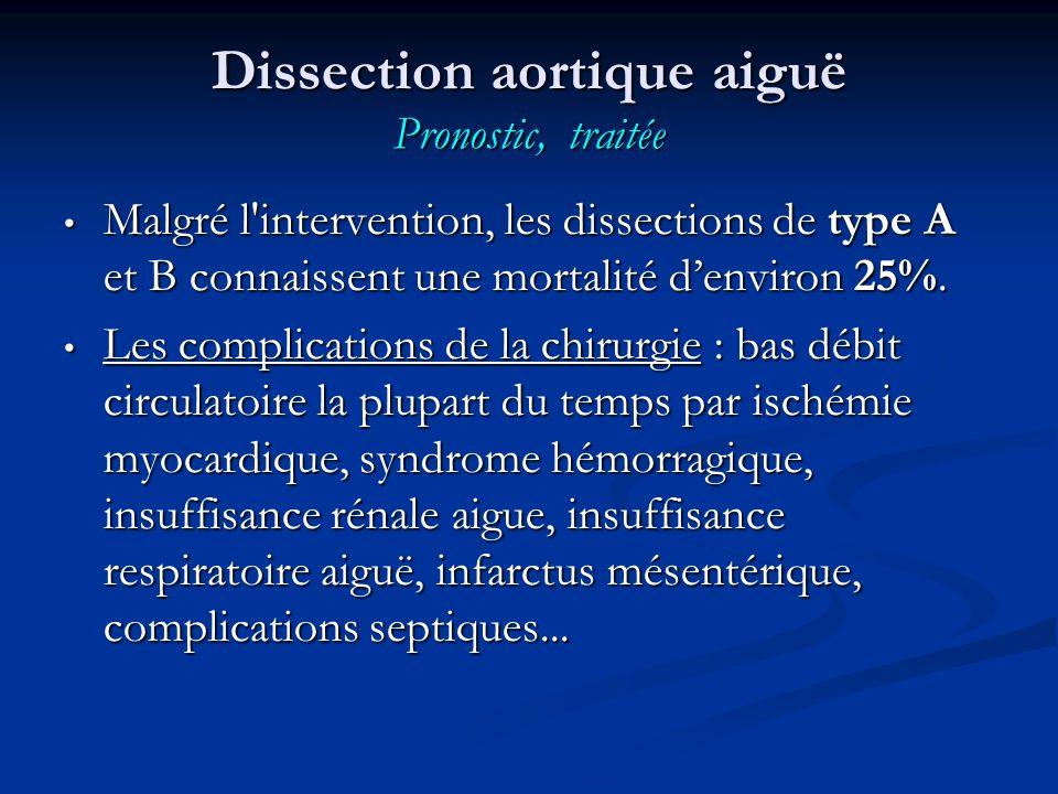 Dissection aortique aiguë Pronostic, traitée Malgré l intervention, les dissections de type A et B connaissent une mortalité denviron 25%.