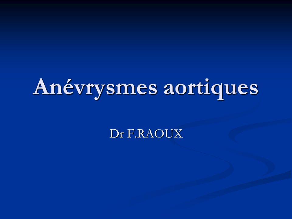 Anévrysmes aortiques Dr F.RAOUX