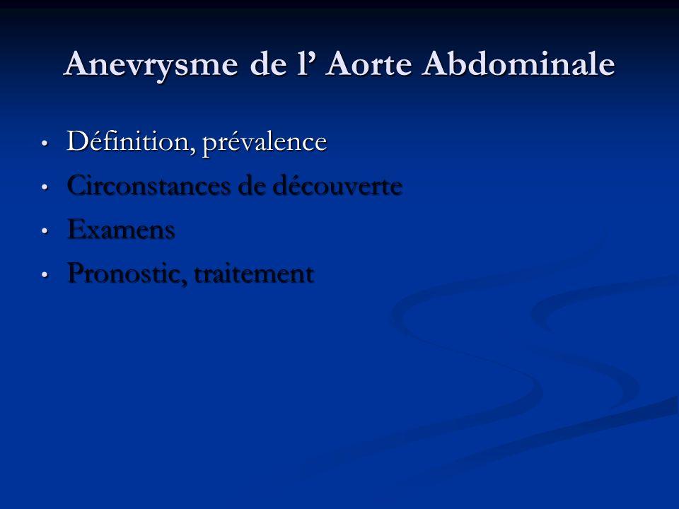 Anevrysme de l Aorte Abdominale Définition, prévalence Définition, prévalence Circonstances de découverte Circonstances de découverte Examens Examens Pronostic, traitement Pronostic, traitement
